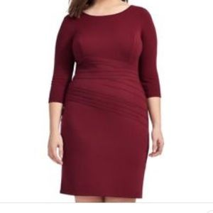 Ellen Tracy Burgundy 3/4 Sleeve Dress